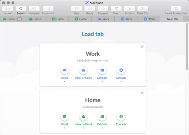 Mailplane's Load tab screen.