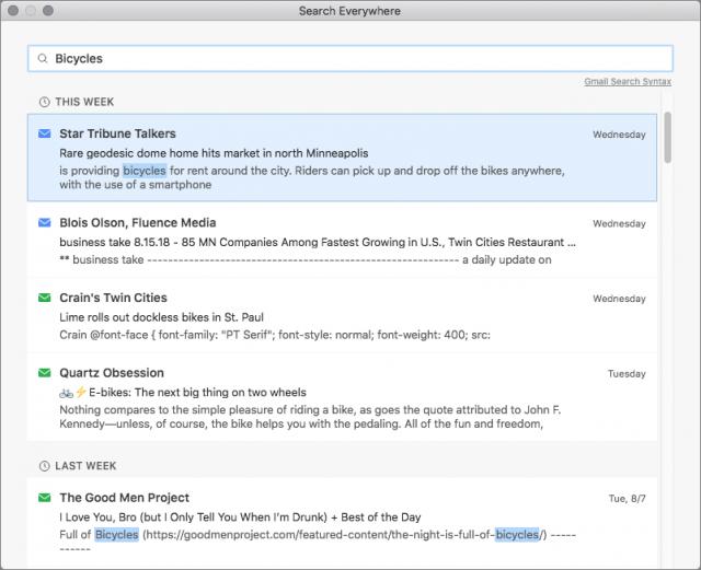 Mailplane's search window.