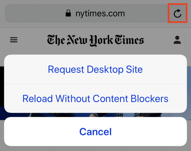 Screenshot showing buttons for requesting desktop site and reloading the page without content blockers enabled.