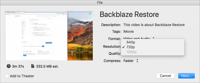 iMovie refusing to output a high-resolution video at anything over 720p.