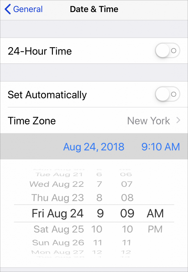 Changing the date to prevent iOS 12 beta prompts