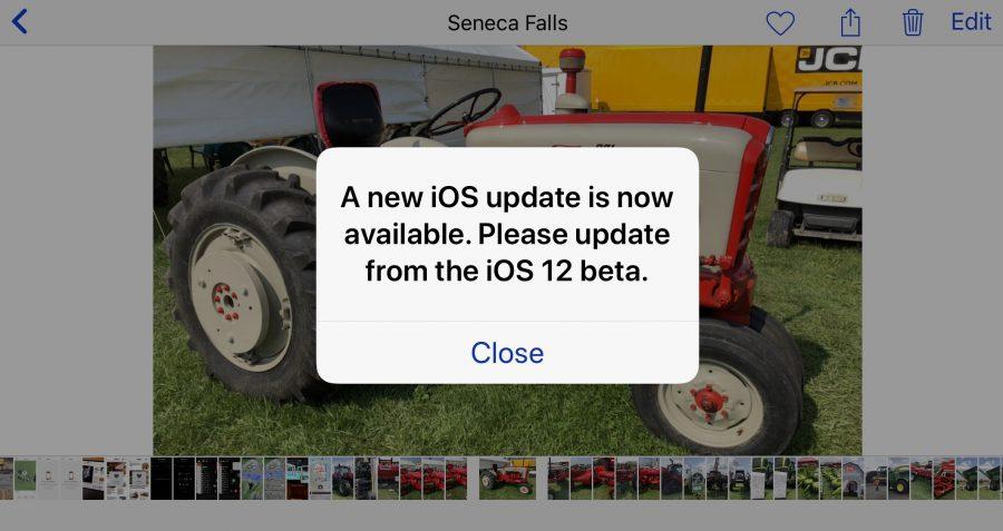 Screenshot showing iOS 12 beta prompt