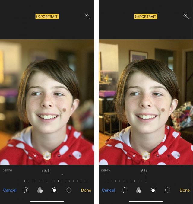 Editing Portrait mode focus in iOS 12.