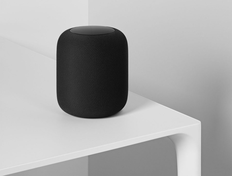 Image of a black HomePod on a table