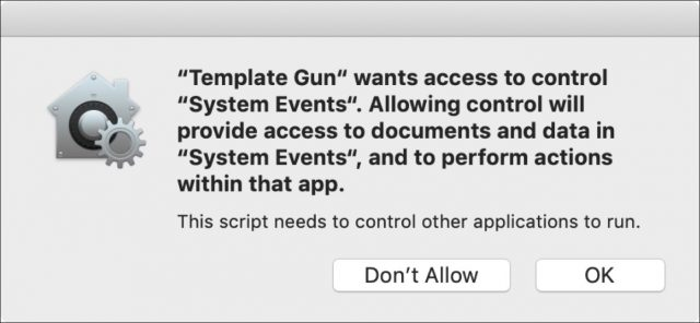 Authorization request dialog from an AppleScript app.