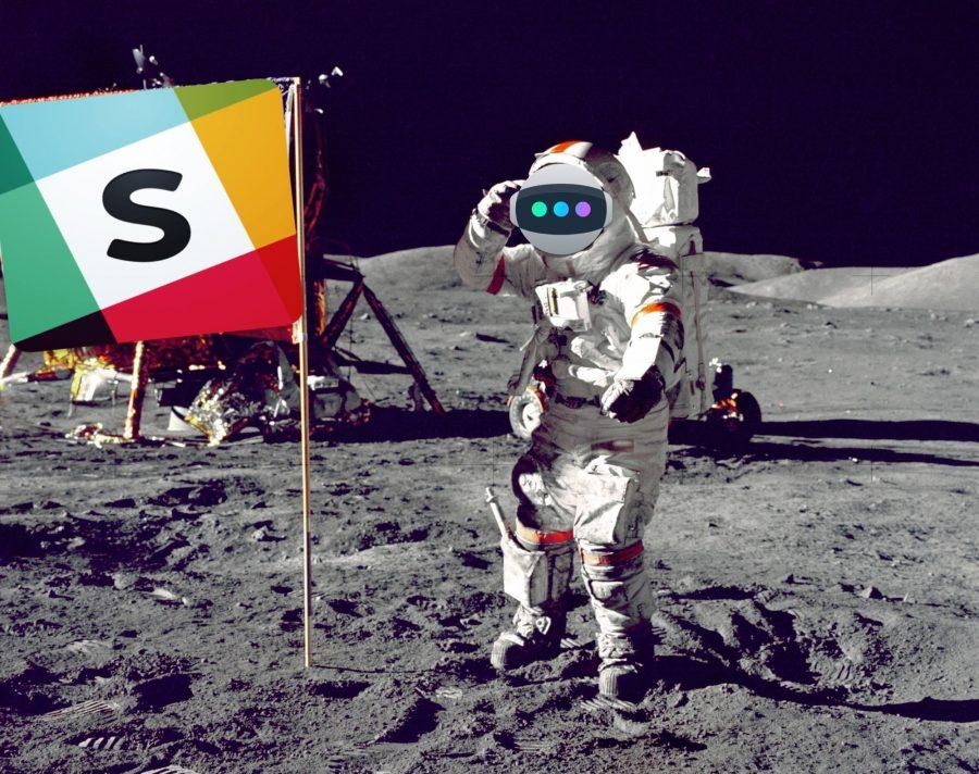 An Astro astronaut planting a Slack flag on the moon.