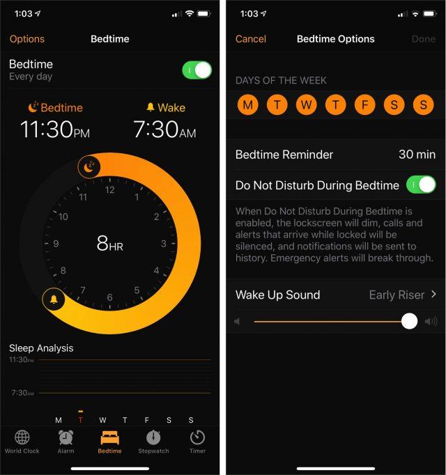 De iOS-bedtijdtimer.
