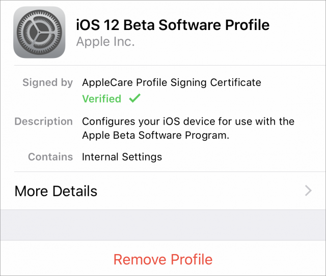 The iOS 12 beta profile.