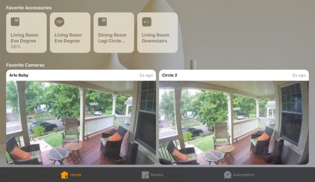 How HomeKit cameras look in the Home app.