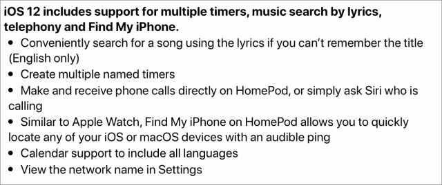 Release notes for iOS 12 on the HomePod