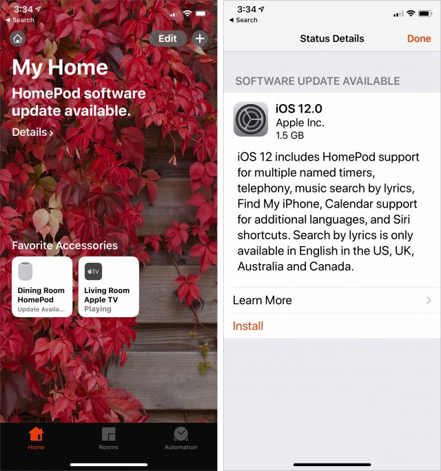 Screenshots of upgrading a HomePod to iOS 12