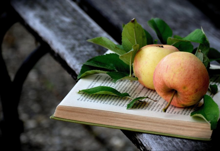 Some apples on a book.