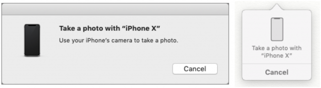 Prompts to take photos on macOS and iOS.