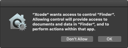 An annoying Xcode permissions prompt.
