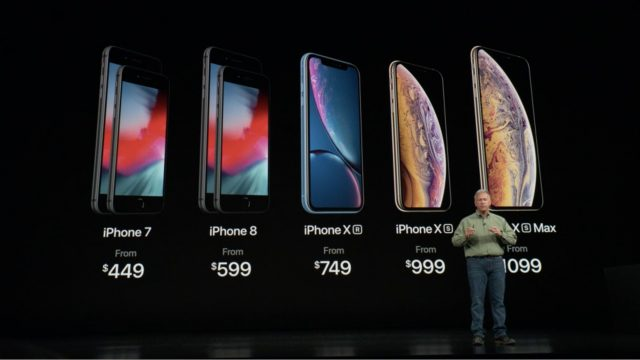 Phil Schiller showing the 2018 iPhone lineup and prices.