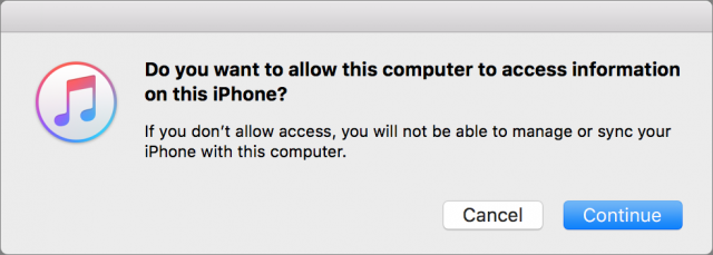 iTunes asking for permission to access my iPhone.