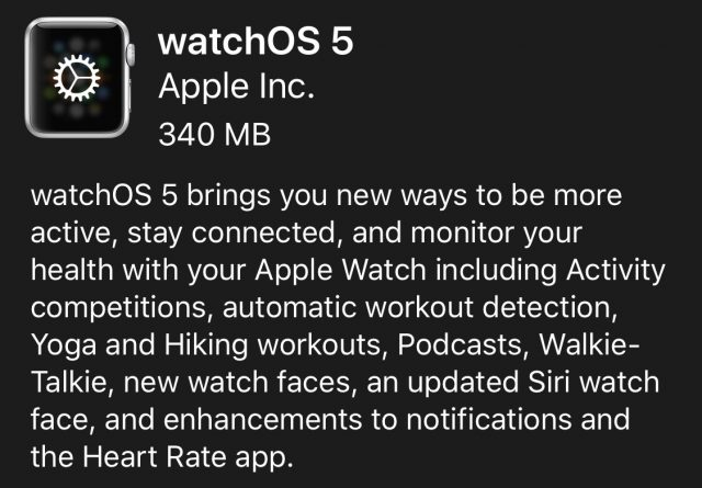 watchOS 5 release notes.