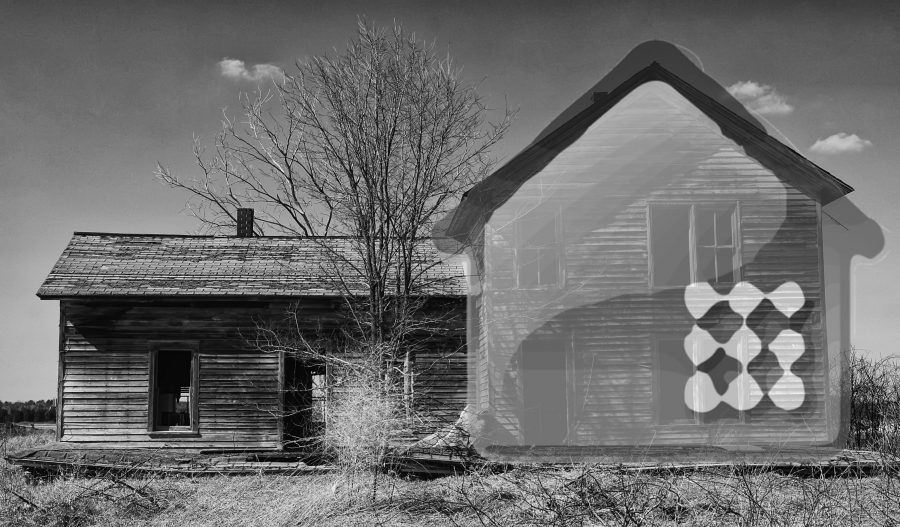 Photo of an abandoned house with the CrashPlan logo superimposed.