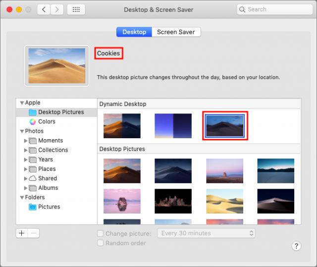 Your custom dynamic desktop in System Preferences.