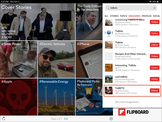 Screenshot of the main Flipboard screen, searching for TidBITS