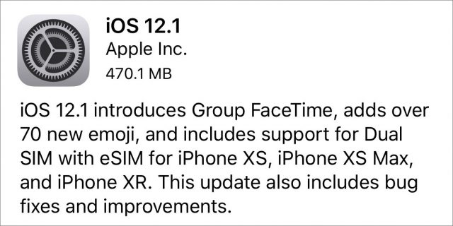 The iOS 12.1 release notes.