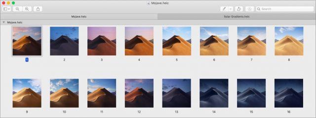 16 afbeeldingen van het Mojave-landschap.