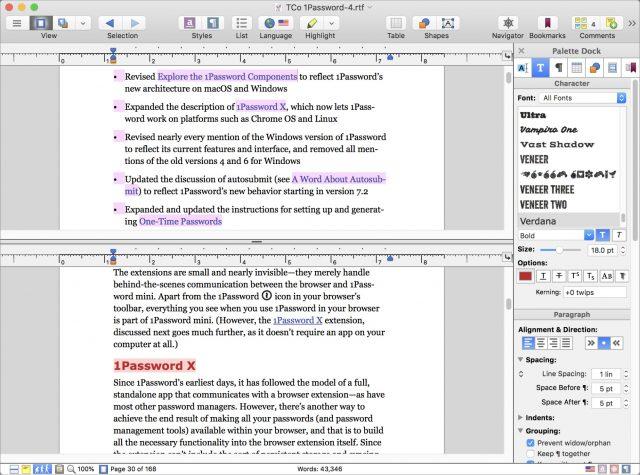 Nisus Writer Pro 3's Split View