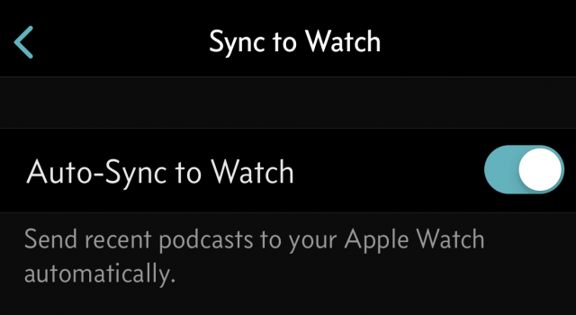 The auto-sync setting in Overcast.