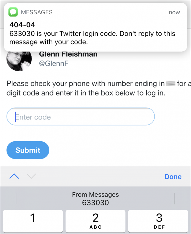 Screenshot of SMS code automatically filled into the iOS QuickType bar for entry.