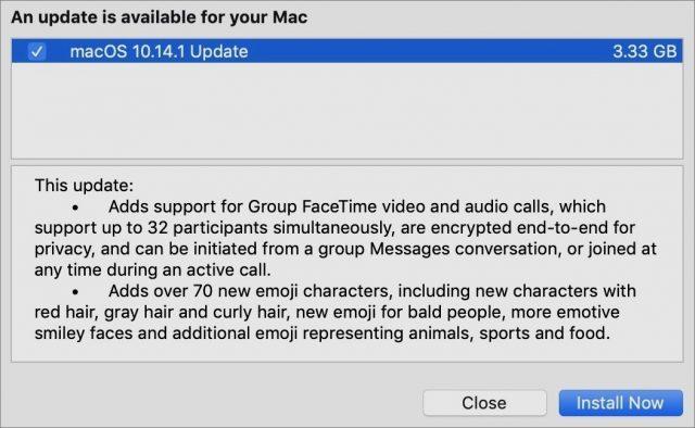 Toelichting bij macOS 10.14.1.
