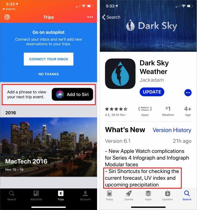 Siri-opdrachten vermeld in beschrijvingen in de App Store.