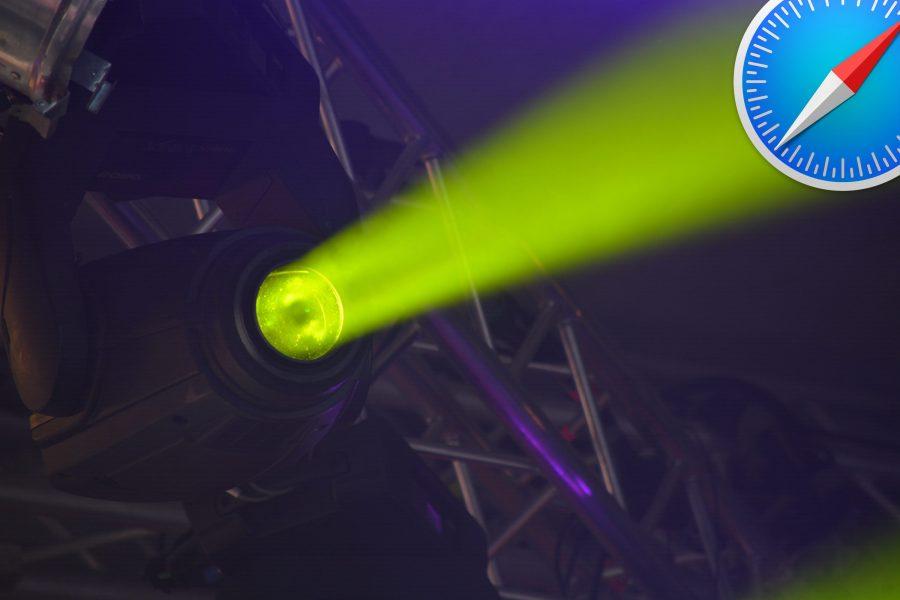 Photo of a spotlight illuminating the Safari icon