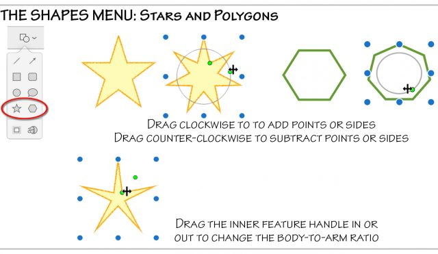 The shapes menu: stars and polygons.