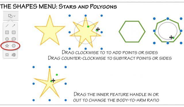 Het Vormen-menu: sterren en veelhoeken.
