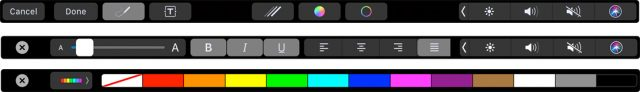 Touch Bar markup tools.