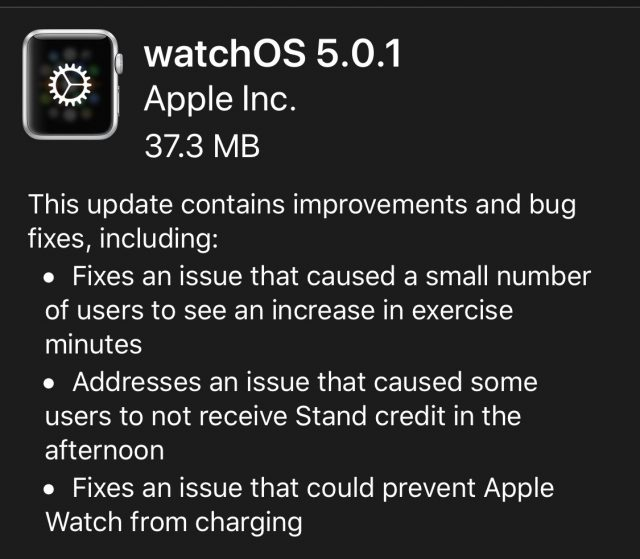 watchOS 5.0.1 release notes.