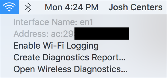 The alternative Wi-Fi menu bar dropdown shows your Wi-Fi interface name and MAC address.