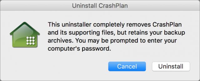 CrashPlan de-installatiedialoogvenster