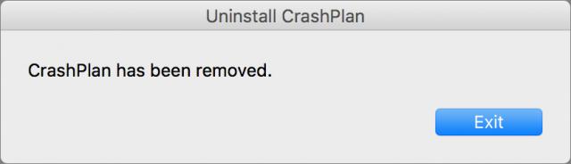 CrashPlan uninstaller finished dialog