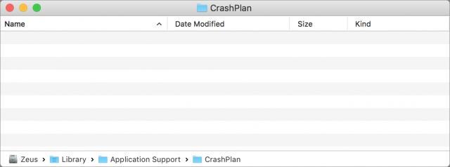 CrashPlan folder emptied of all files