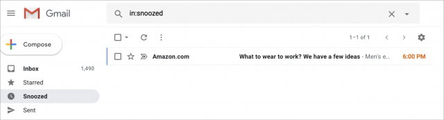 Gesnoozde e-mail in Gmail.