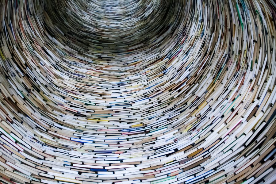Photo of a circular stack of books