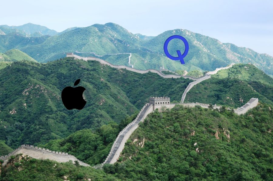 Photo of the Great Wall of China with Apple and Qualcomm icons