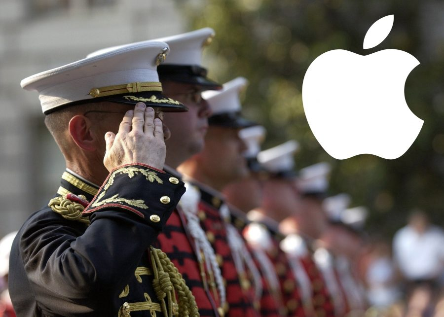 Service members and the Apple logo.