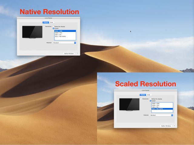 Native vs. scaled resolution.