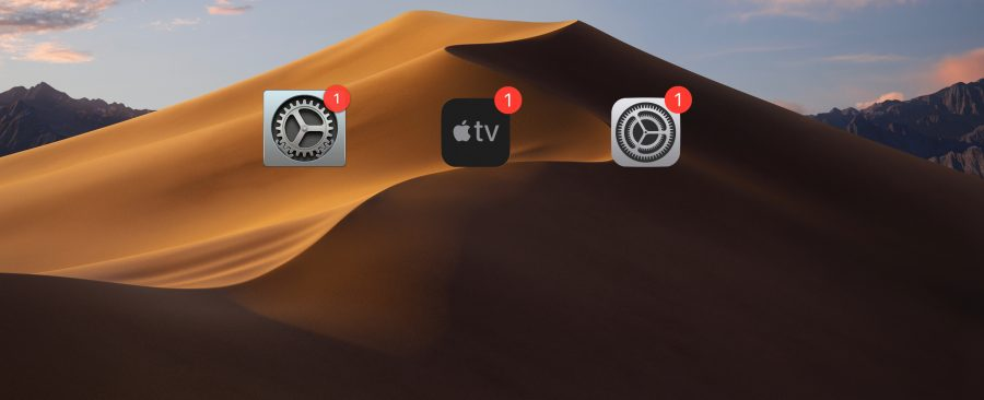 Apple TV and iOS update icons in the Mojave.