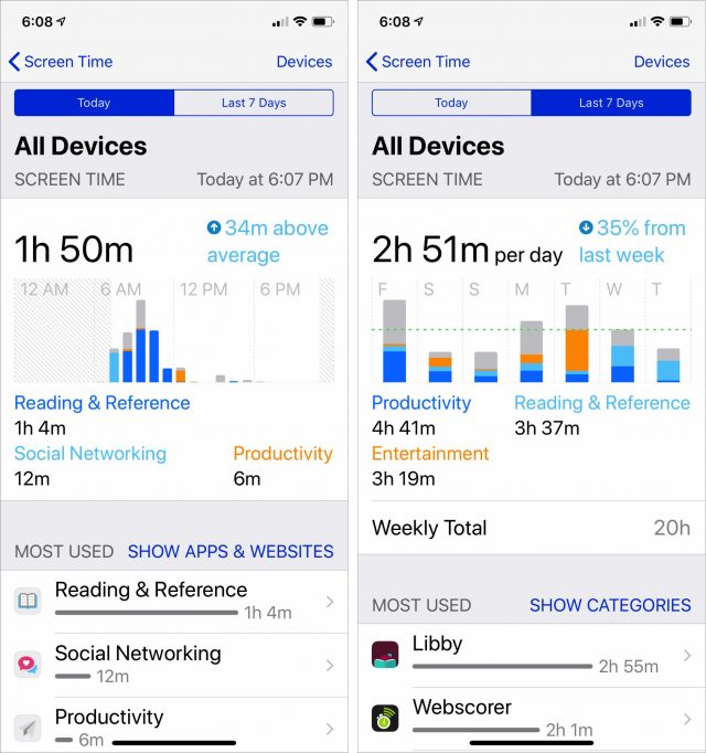 Graphs of Screen Time usage.