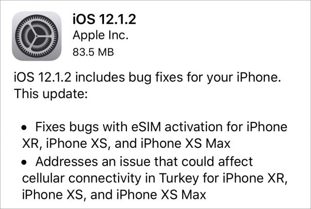 iOS 12.1.2 release notes