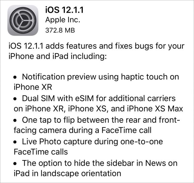 iOS 12.1.1 release notes.