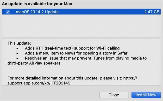 Toelichting bij macOS 10.14.2.